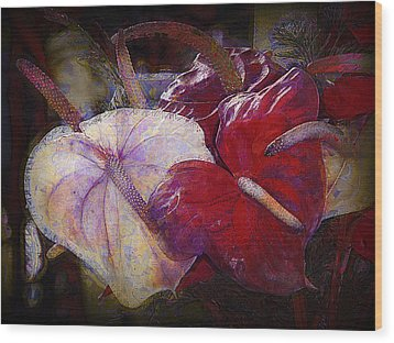 Wood Print featuring the photograph Anthuriums For My Valentine by Lori Seaman