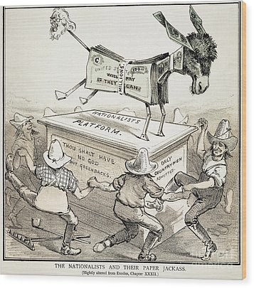 Anti-greenback Cartoon Wood Print by Granger
