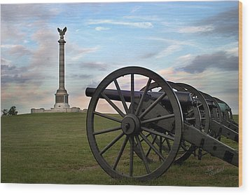 Antietam Cannon And Monument At Sunset Wood Print by Judi Quelland