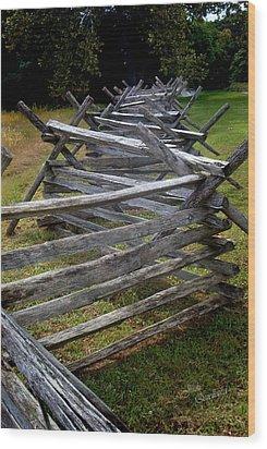 Antietam Fenceline Wood Print by Judi Quelland