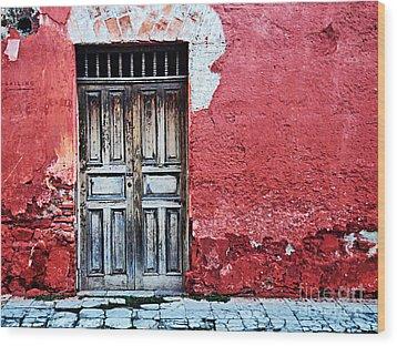 Antigua Door  Wood Print
