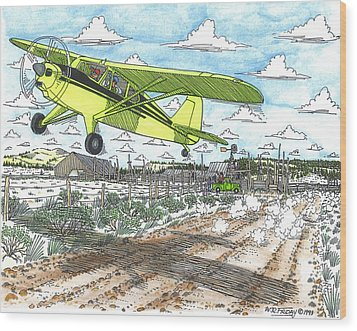 Antique Airplane Taking Flight Wood Print by Bill Friday