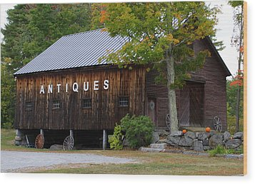 Antique Barn In Fall Wood Print by Lois Lepisto