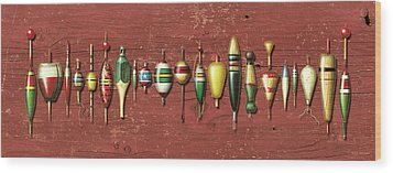 Antique Bobbers Red  Wood Print by JQ Licensing