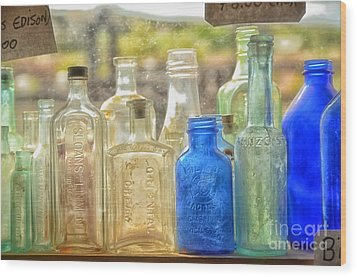 Antique Bottles Wood Print by Tamera James