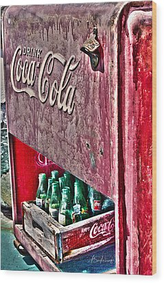Antique Coca Cola Coke Refrigerator Wood Print by Robin Lewis
