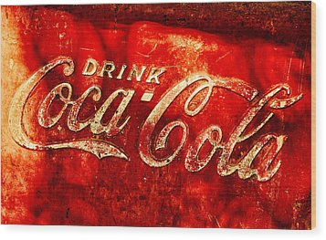 Antique Coca-cola Cooler Wood Print by Stephen Anderson