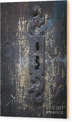Wood Print featuring the photograph Antique Door Lock Detail by Elena Elisseeva