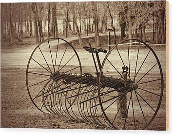 Antique Farm Rake In Sepia Wood Print