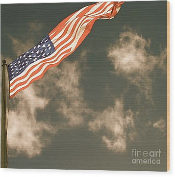 Antique Flag Wood Print by Louise Fahy