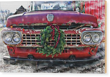 Antique Ford Christmas Wood Print