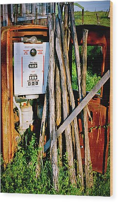 Wood Print featuring the photograph Antique Gas Pump by Linda Unger