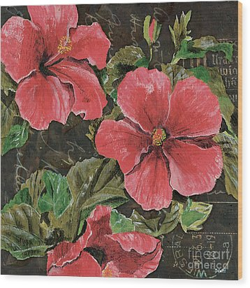Antique Hibiscus Black 2 Wood Print by Debbie DeWitt