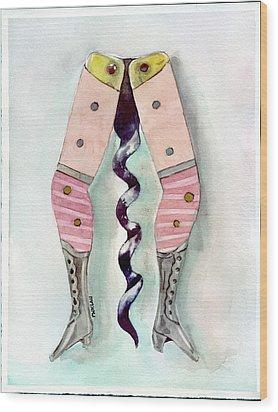 Antique Ladies Leg Corkscrew Wood Print by Peter Lau