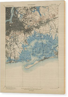 Wood Print featuring the drawing Antique Map Of Brooklyn And Queens - New York City - Usgs Topographic Map - 1900 by Blue Monocle