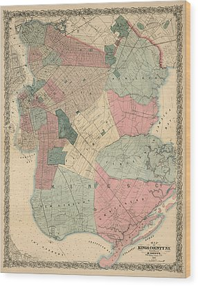 Wood Print featuring the drawing Antique Map Of Brooklyn - New York City - By M. Dripps - 1868 by Blue Monocle