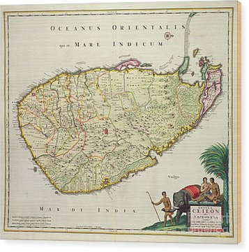 Antique Map Of Ceylon Wood Print by Nicolas Visscher