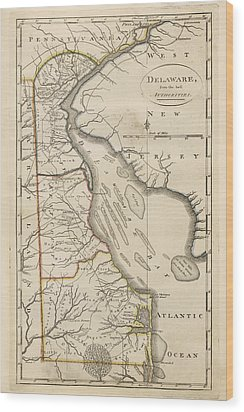 Wood Print featuring the drawing Antique Map Of Delaware By Mathew Carey - 1814 by Blue Monocle