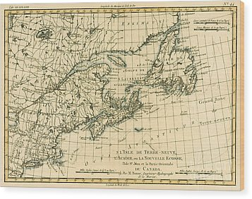 Antique Map Of Eastern Canada Wood Print by Guillaume Raynal