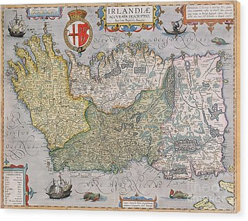 Antique Map Of Ireland Wood Print by  English School