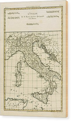Antique Map Of Italy Wood Print by Guillaume Raynal