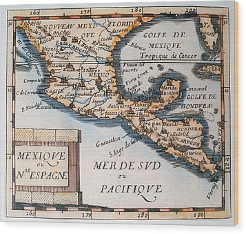 Antique Map Of Mexico Or New Spain Wood Print by French School
