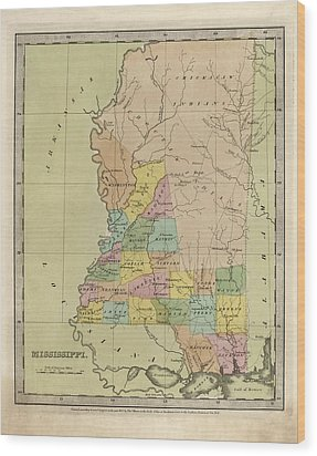 Wood Print featuring the drawing Antique Map Of Mississippi By David Burr - 1835 by Blue Monocle