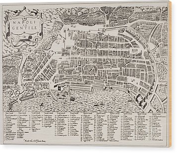 Antique Map Of Naples Wood Print by Italian School