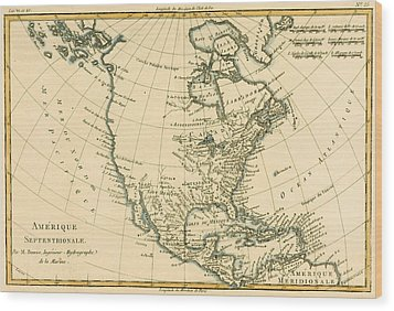 Antique Map Of North America Wood Print by Guillaume Raynal