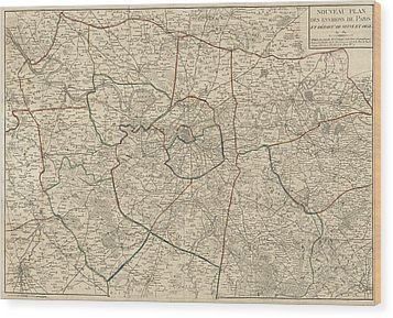 Wood Print featuring the drawing Antique Map Of Paris France And Surroundings By Jacques Esnauts - 1811 by Blue Monocle