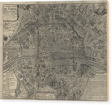 Wood Print featuring the drawing Antique Map Of Paris France By Nicolas De Fer - 1705 by Blue Monocle