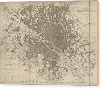 Wood Print featuring the drawing Antique Map Of Paris France By The Society For The Diffusion Of Useful Knowledge - 1834 by Blue Monocle