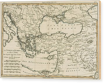 Antique Map Of Turkey Wood Print by Guillaume Raynal