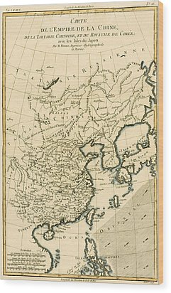 Antique Map The Chinese Empire Wood Print by Guillaume Raynal