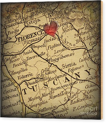 Antique Map With A Heart Over The City Of Florence In Italy Wood Print by ELITE IMAGE photography By Chad McDermott