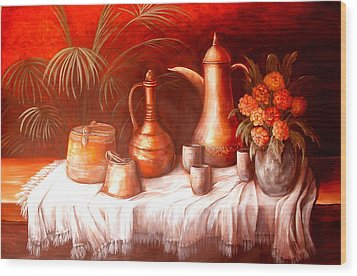 Antique Moroccan Pots Still Life Wood Print by Patricia Rachidi