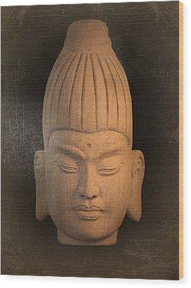 antique oil effect Buddha Burmese Wood Print by Terrell Kaucher