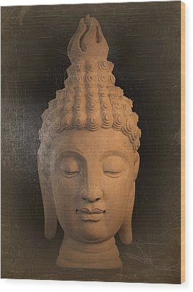 antique oil effect Buddha Sukhothai Wood Print by Terrell Kaucher