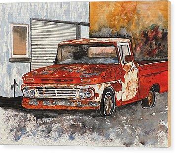 Antique Old Truck Painting Wood Print by Derek Mccrea
