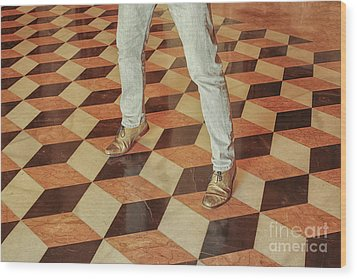 Wood Print featuring the photograph Antique Optical Illusion Floor Tiles by Patricia Hofmeester