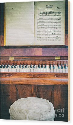 Wood Print featuring the photograph Antique Piano And Music Sheet by Silvia Ganora