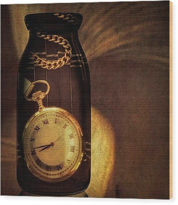 Antique Pocket Watch In A Bottle Wood Print by Susan Candelario