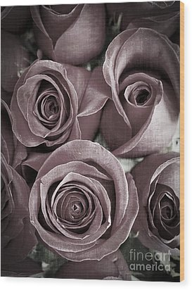 Antique Roses Wood Print by Edward Fielding