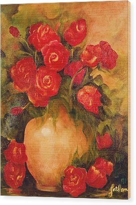 Antique Roses Wood Print by Jordana Sands