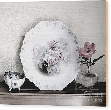 Antique Roses Of Old Wood Print by Marsha Heiken