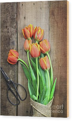 Wood Print featuring the photograph Antique Scissors And Bouguet Of Tulips by Stephanie Frey