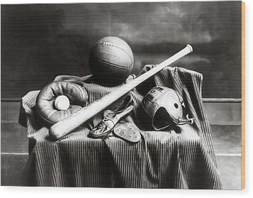 Wood Print featuring the photograph Antique Sports Equipment - American Athletics by Mark Tisdale