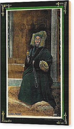 Antique Tibetan Lama Wood Print by Peter Gumaer Ogden