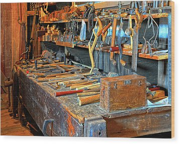 Antique Tool Bench Wood Print by Dave Mills