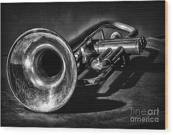 Antique Trumpet 1 Wood Print by Walt Foegelle
